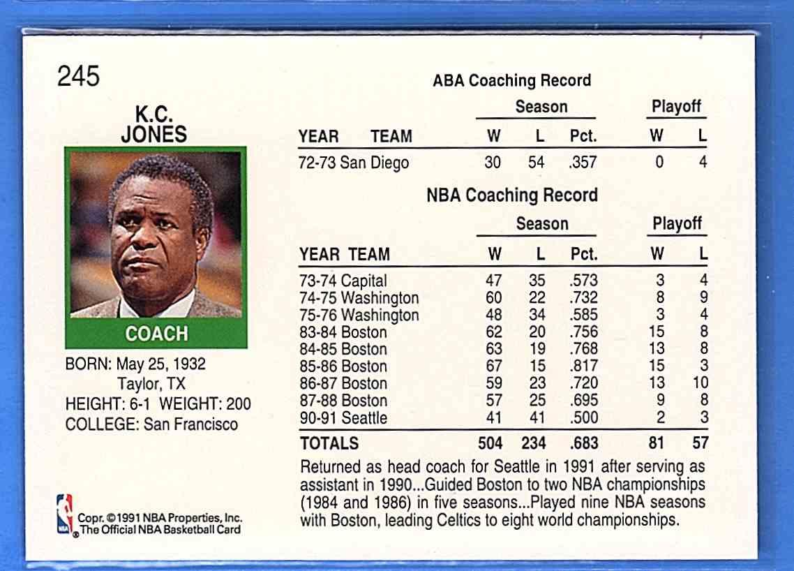1991-92 Hoops K.C. Jones #245 card back image