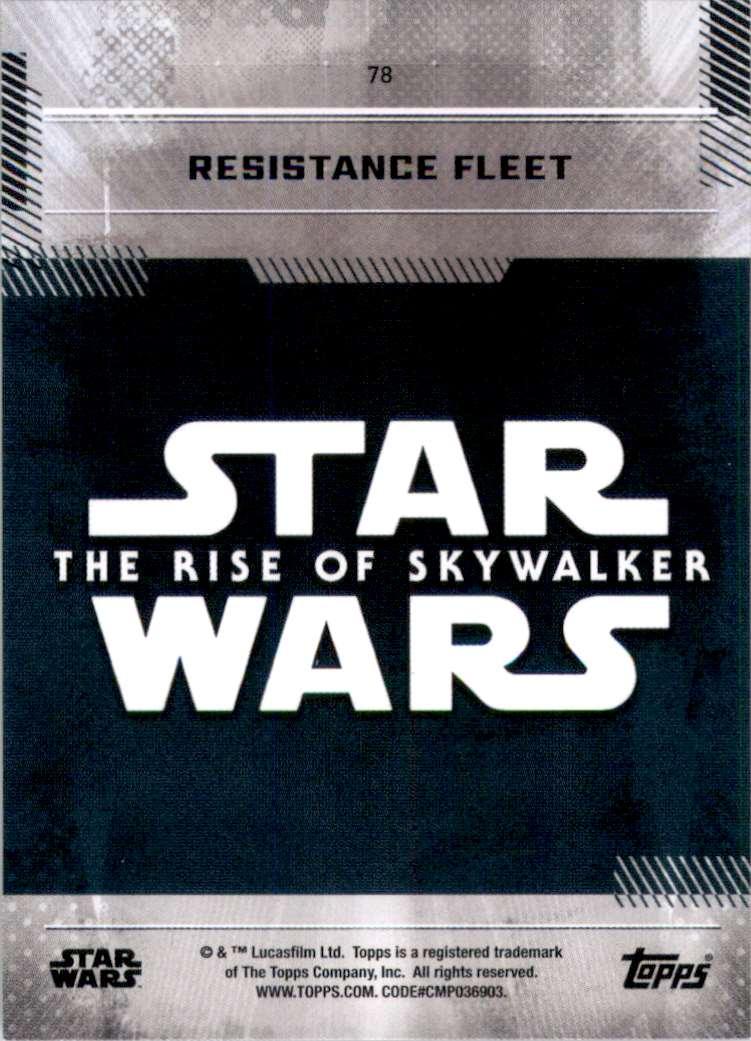 2019 Star Wars The Rise Of Skywalker Series One Resistance Fleet #78 card back image