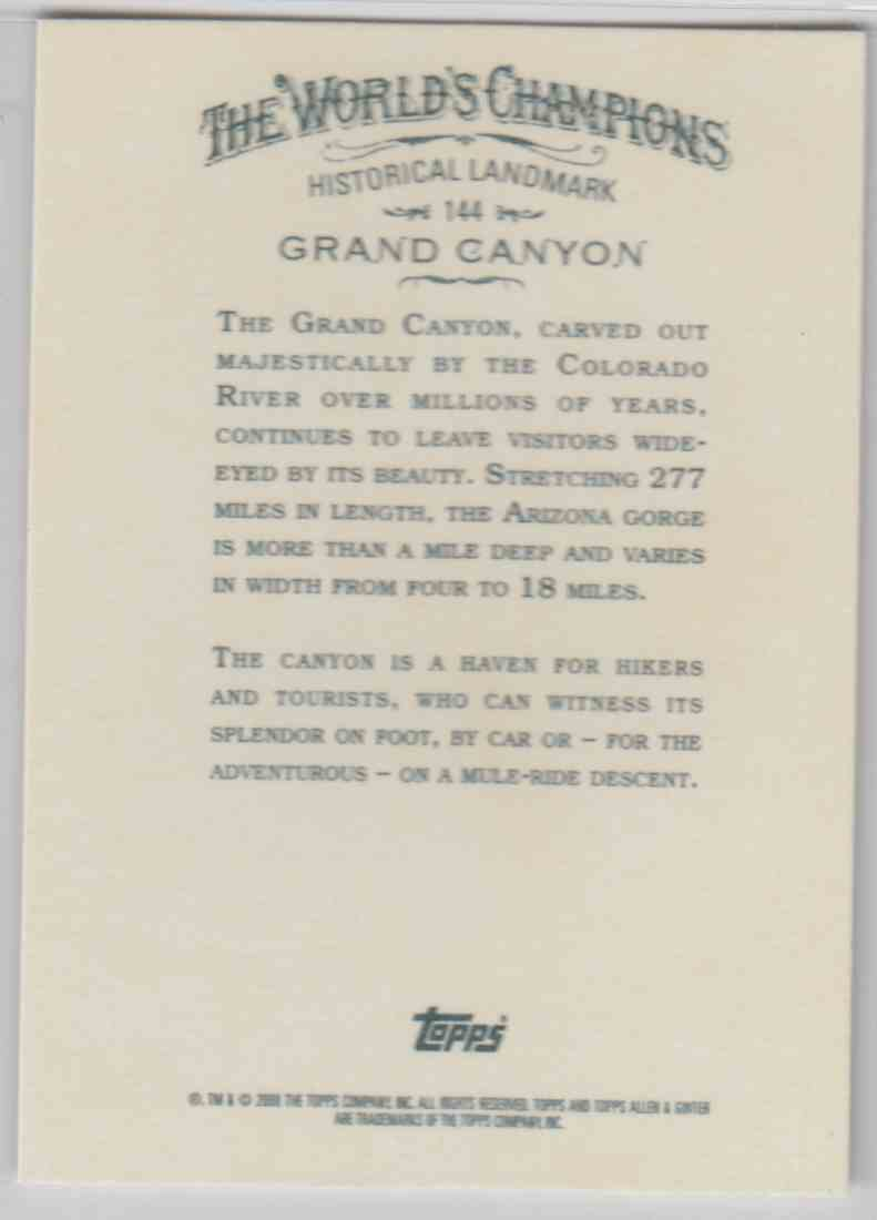 2008 Topps Allen And Ginter Grand Canyon #144 card back image