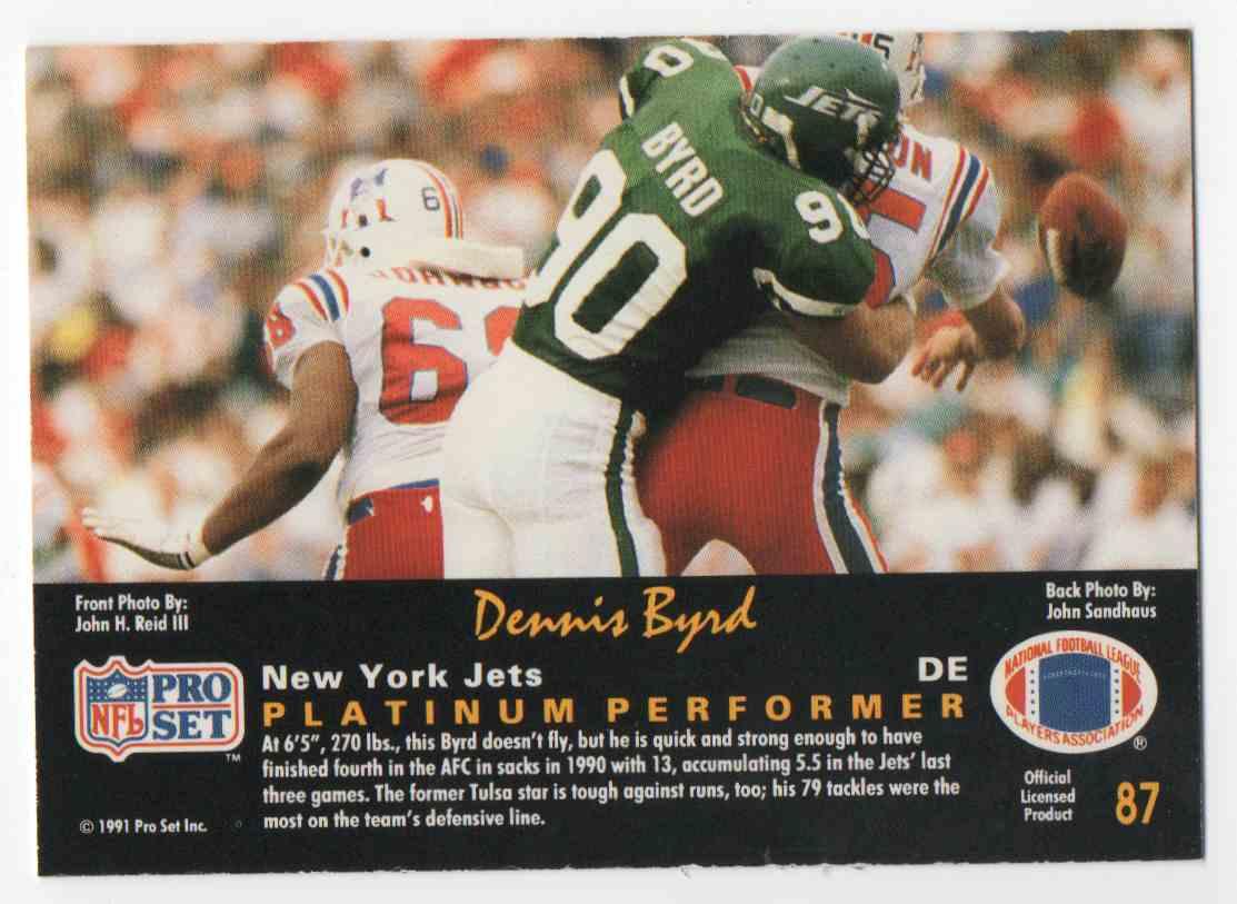 1991 Pro Set Platinum Dennis Byrd #87 card back image