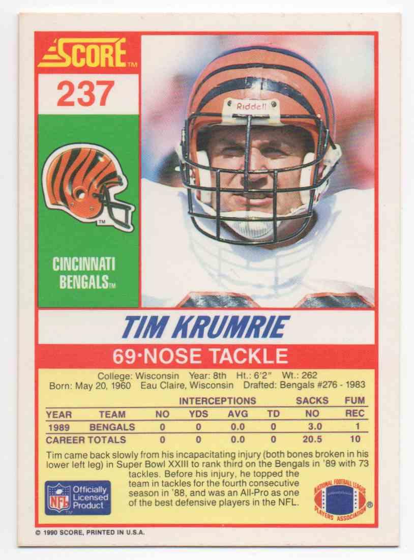 1990 Score Tim Krumrie #237 card back image