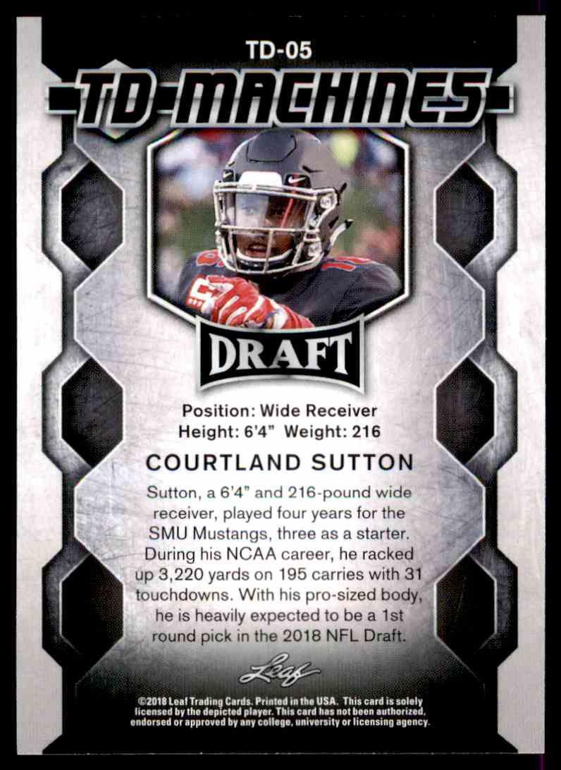 2018 Leaf Draft Courtland Sutton #TD-05 card back image