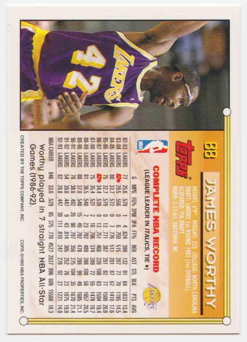 1993-94 Topps Base James Worthy #88 card back image