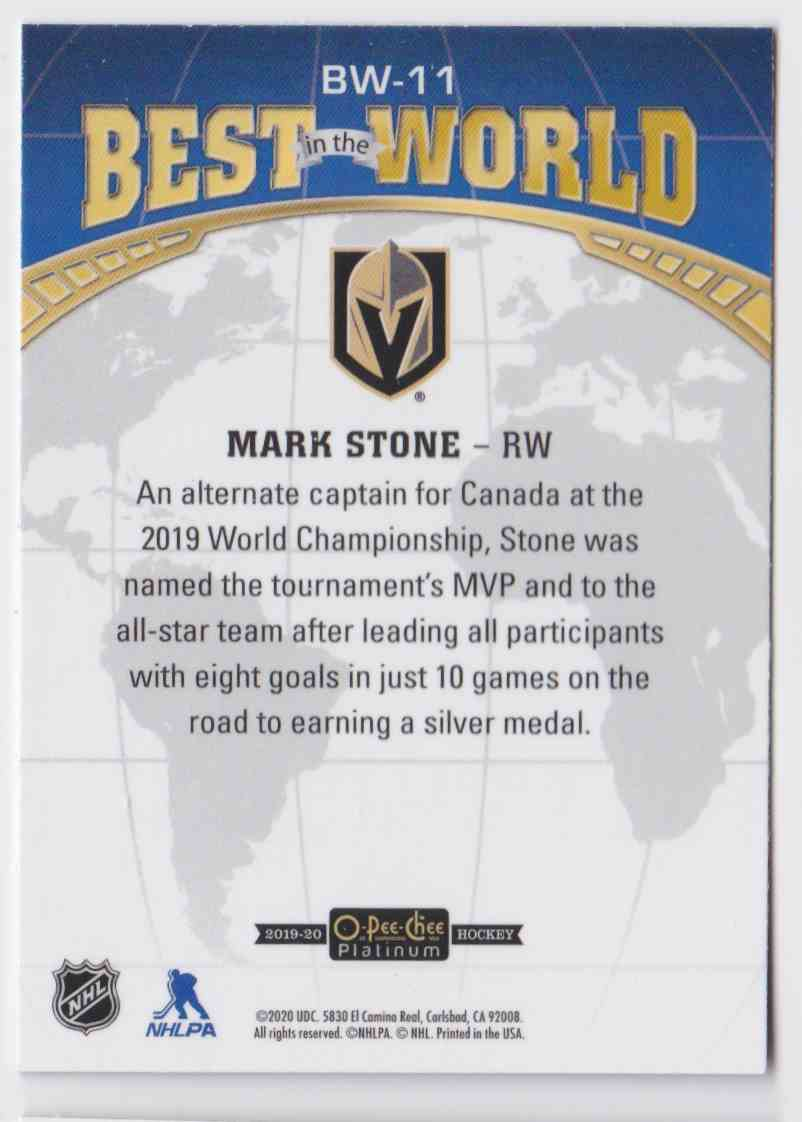 2019-20 Upper Deck Hockey O-Pee-Chee Platinum Mark Stone - Best In The World #BW-11 card back image