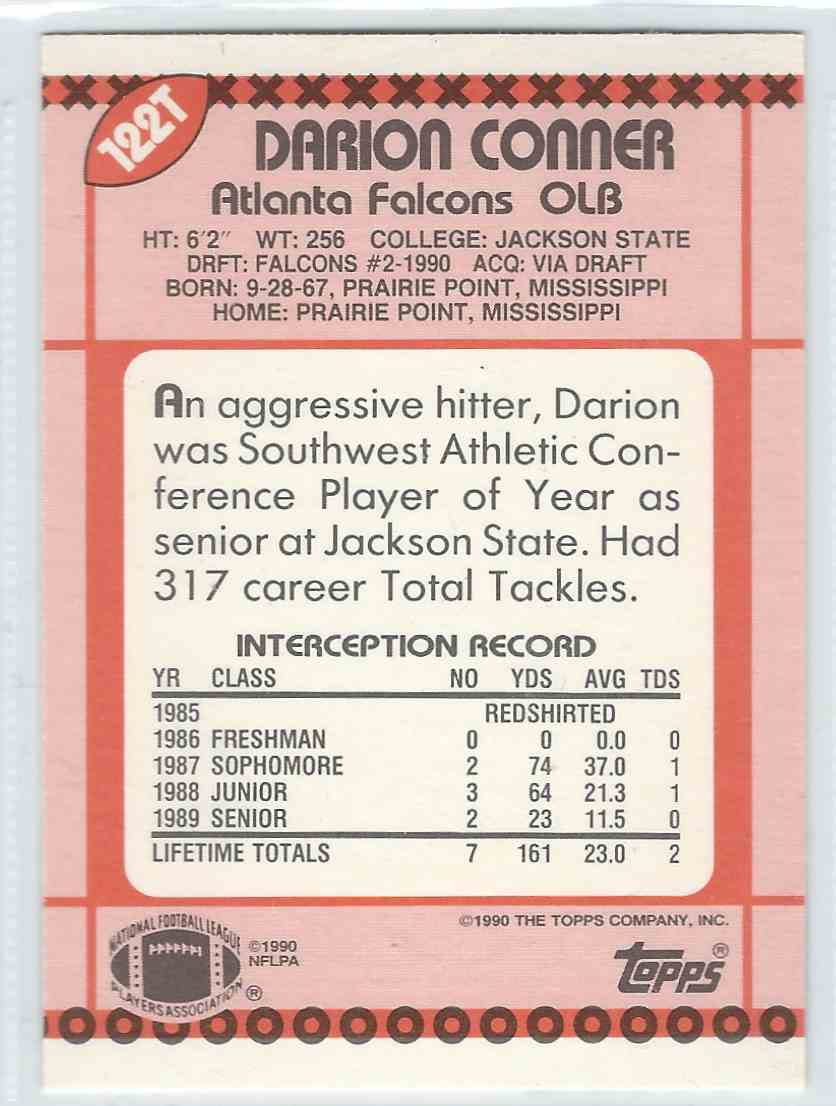 1990 Topps Traded Darrion Conner #122T card back image