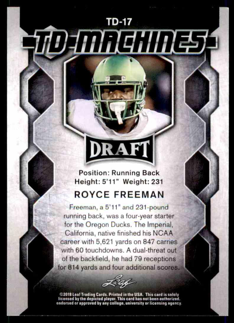 2018 Leaf Draft Royce Freeman #TD-17 card back image