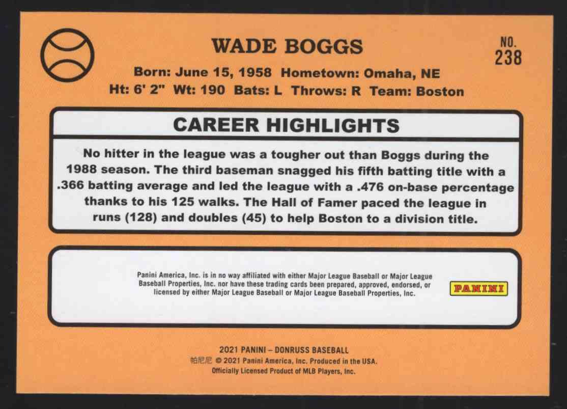 2021 Donruss Wade Boggs Retro #238 card back image