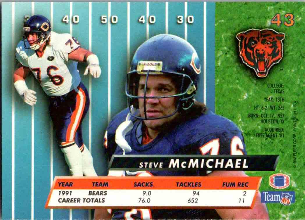 1992 Fleer Ultra Steve McMichael #43 card back image