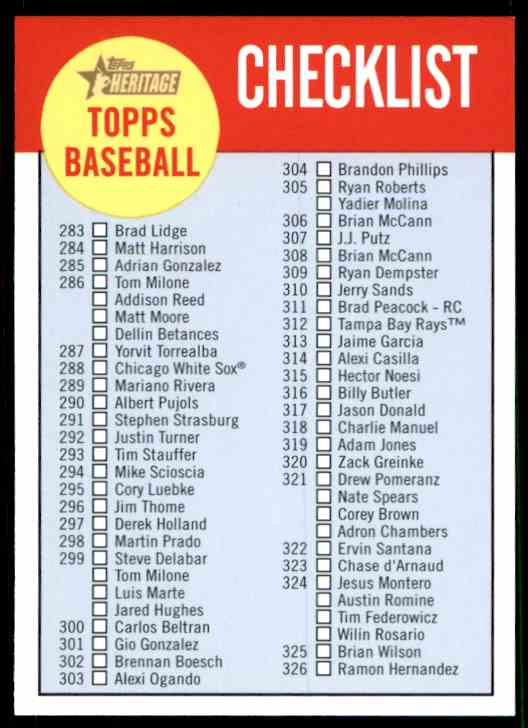 2012 Topps Heritage Checklists Checklist C4 On Kronozio