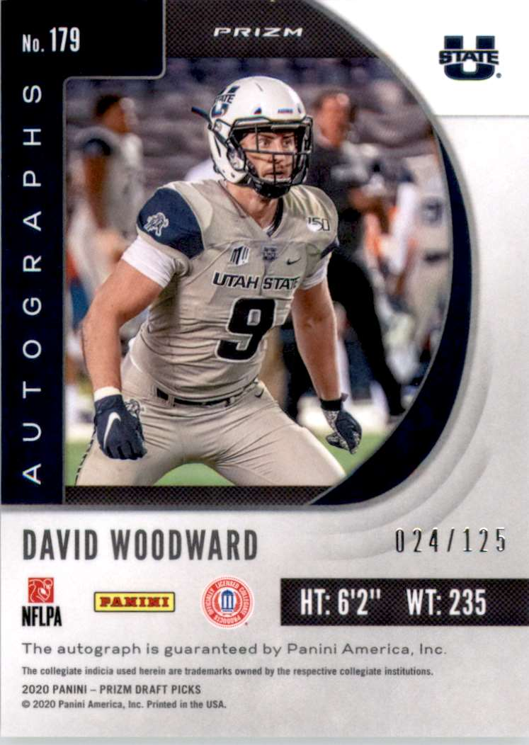 2020 Panini Prizm Draft Picks Autograph Prizms Neon Green David Woodward #179 card back image