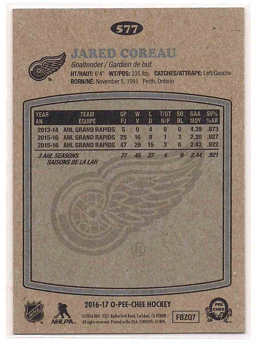 2016-17 O-Pee-Chee Retro Jared Comeau #577 card back image