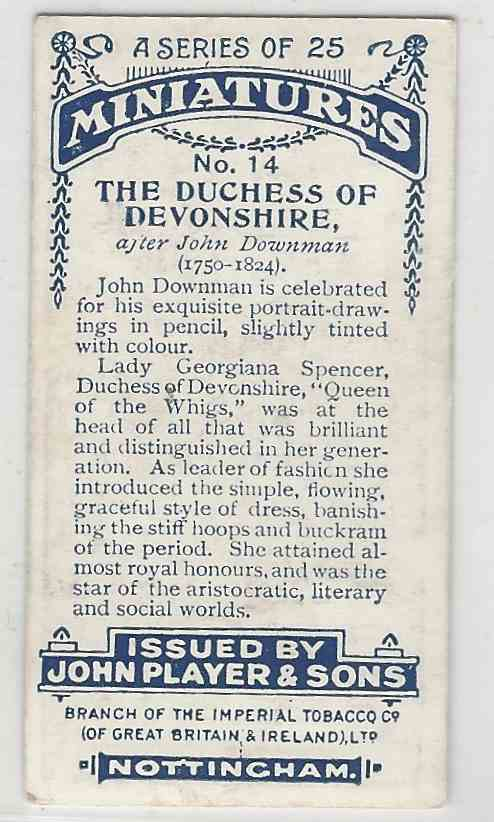 1923 Player's Miniatures The Duchess Of Devonshire #14 card back image