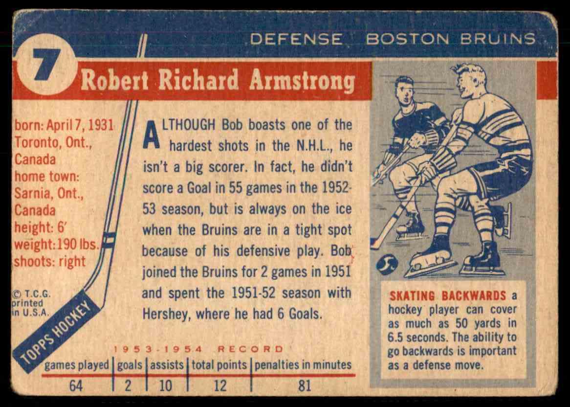 1954-55 Topps Bob Armstrong #7 card back image