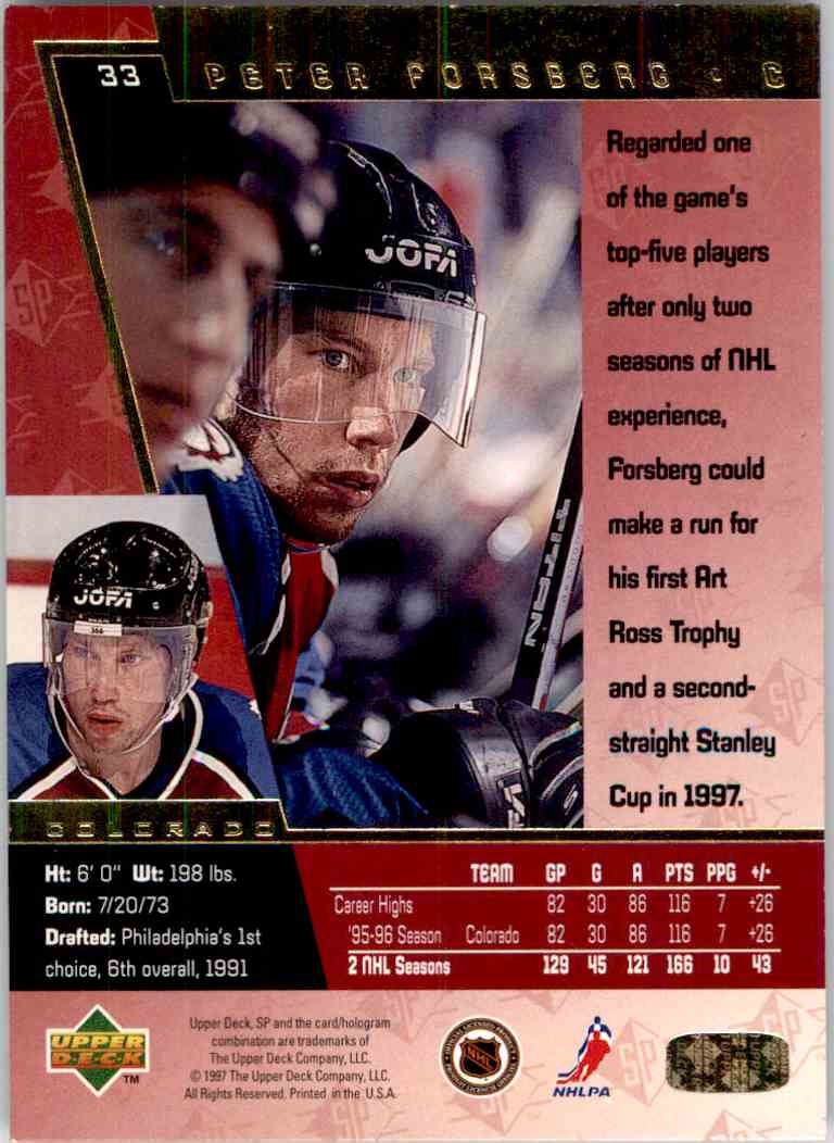 1996-97 Upper Deck SP Peter Forsberg #33 card back image