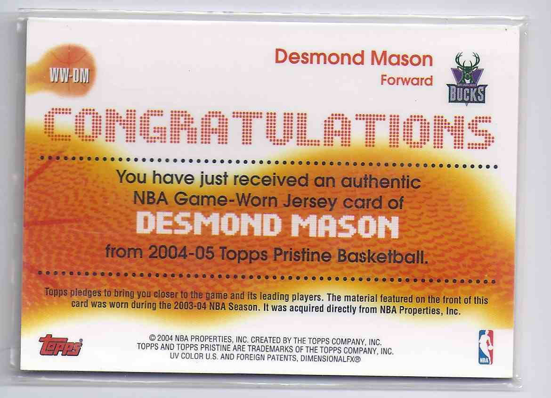 2004-05 Topps Pristine Winning Wardrobe Desmond Mason #DM card back image