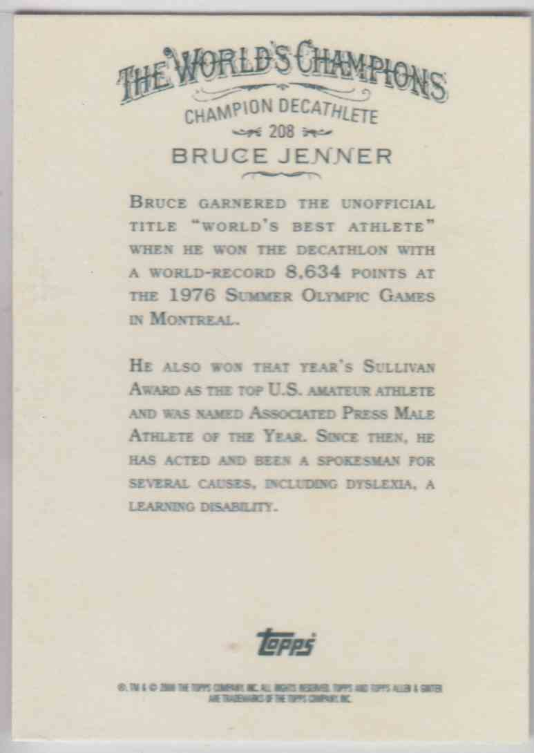2008 Topps Allen And Ginter Bruce Jenner #208 card back image