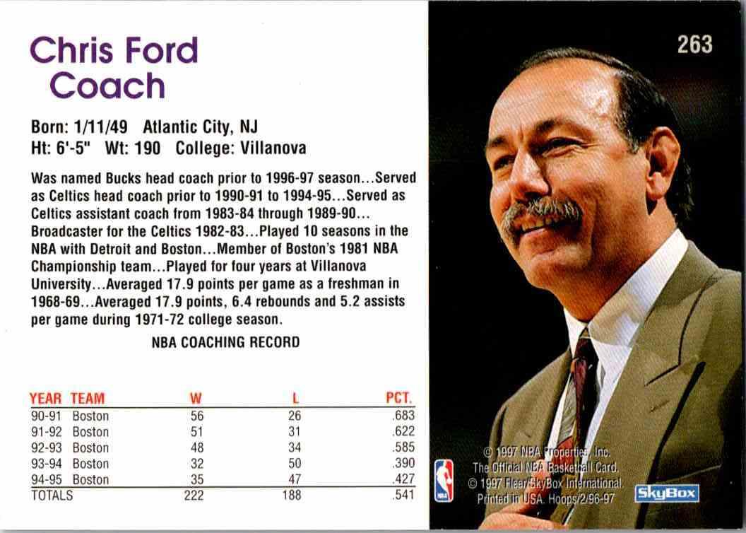 1997-98 NBA Hoops Chris Ford #263 card back image