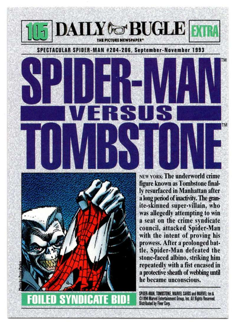 1994 Amazing Spider-Man Spider-Man Vs Tombstone #105 card back image