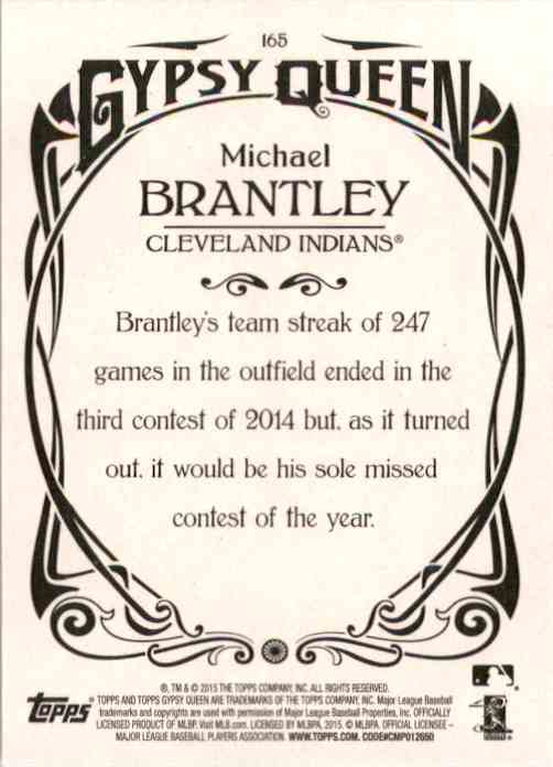 2015 Topps Gypsy Queen Michael Brantley #165 card back image