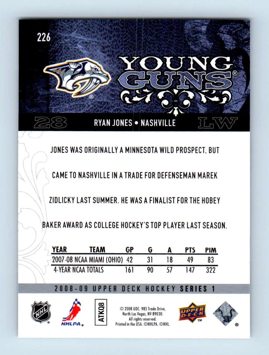 2008-09 Upper Deck Young Guns Ryan Jones #226 card back image