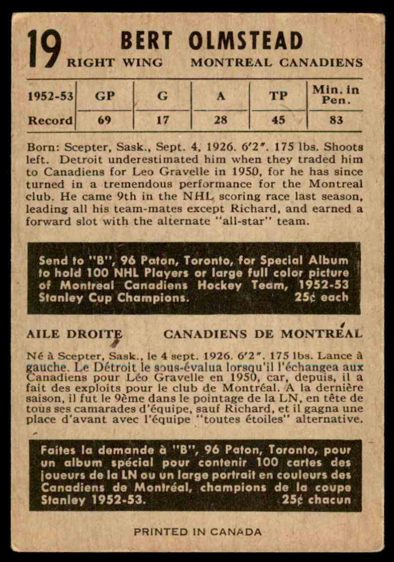 1953-54 Parkhurst Bert Olmstead #19 card back image