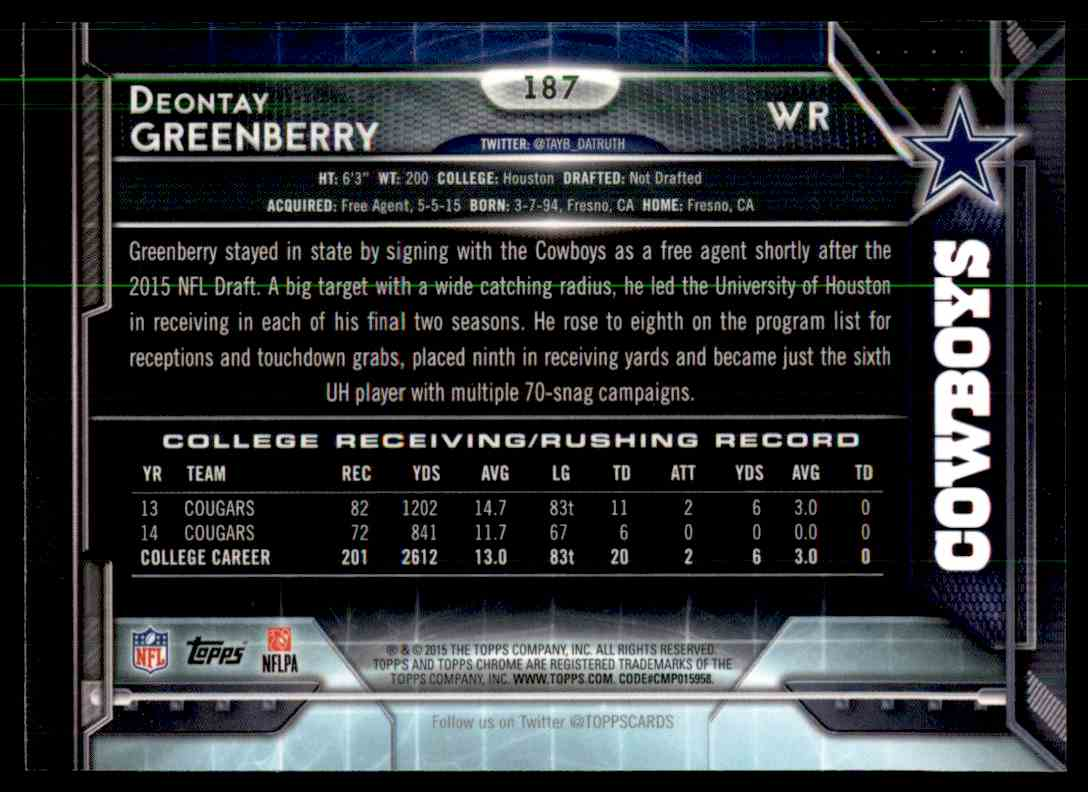 2015 Topps Chrome Refractor Deontay Greenberry #187 card back image