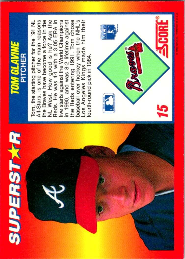 1992 Score 100 Superstars Tom Glavine #15 card back image