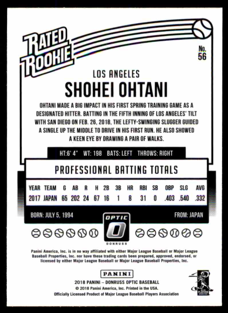 2018 Donruss Optic Shohei Ohtani #56 card back image