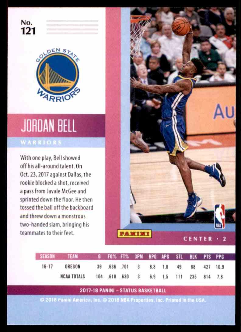 2017-18 Panini Status Jordan Bell RC #121 card back image
