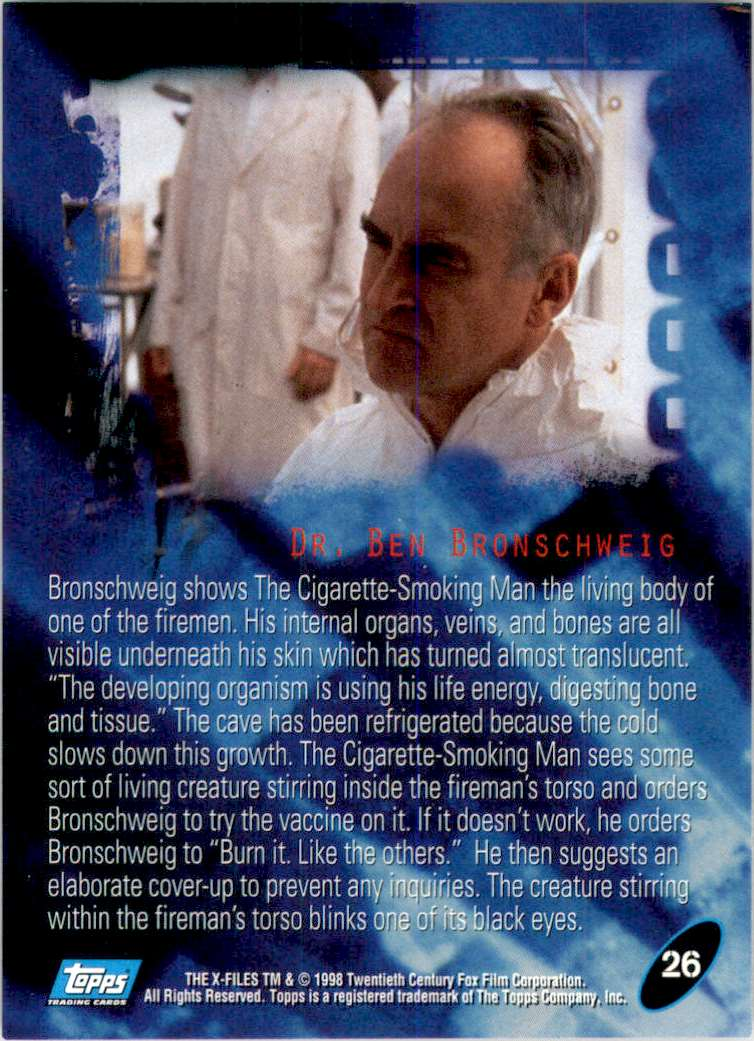 1998 X-Files Fight The Future Dr. Ben Bronschweig #26 card back image