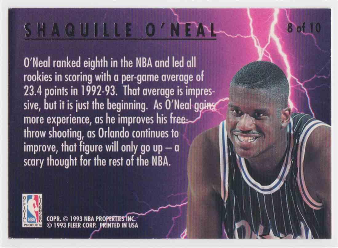 1993-94 Fleer Ultra Scoring Kings Shaquille O'neal #8 OF 10 card back image