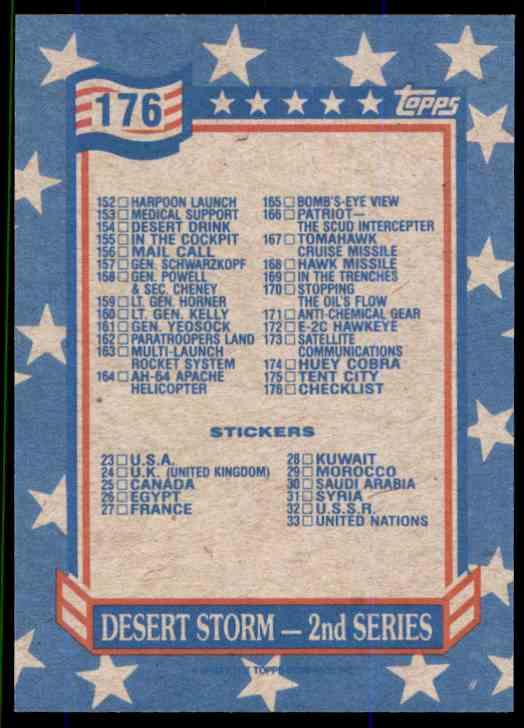 1991 Desert Storm Topps Checklist #176 card back image