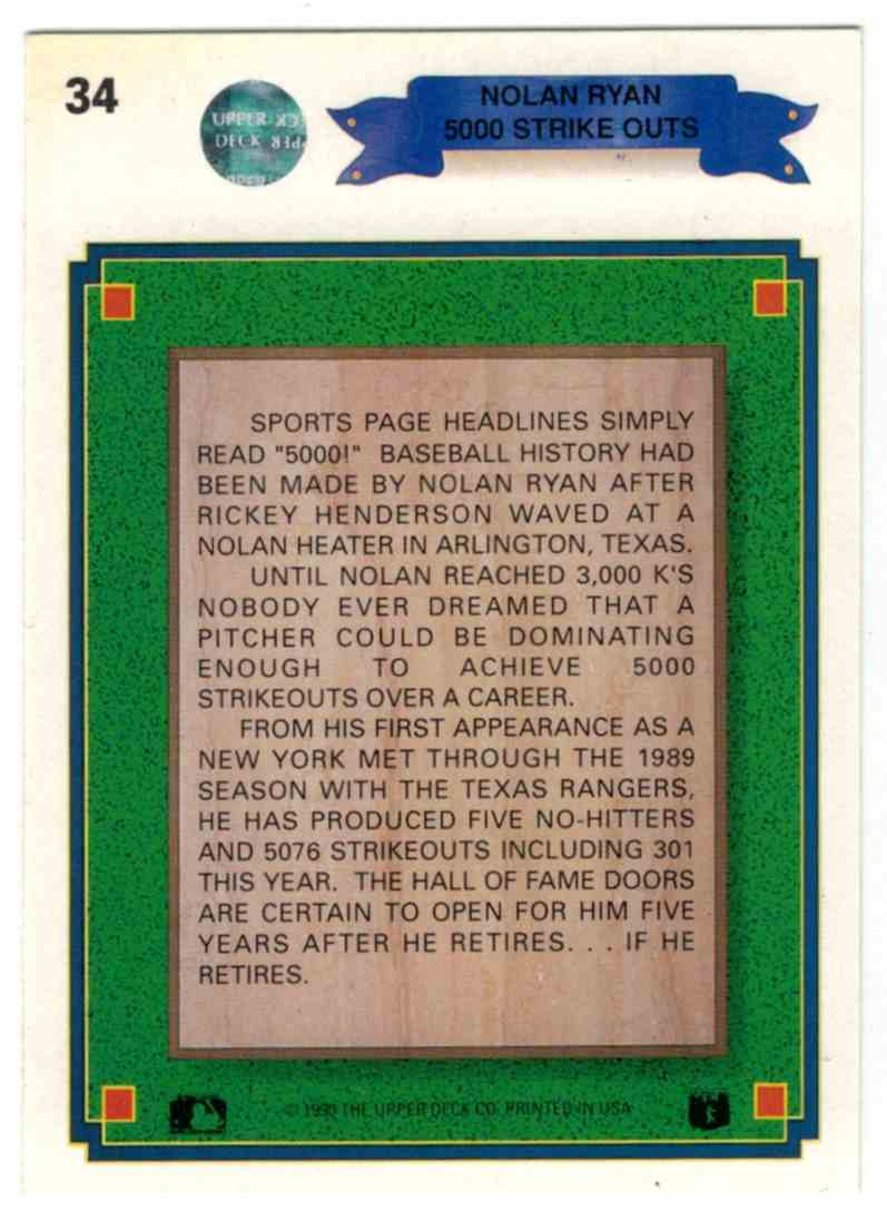1990 Upper Deck Nolan Ryan 5000K #34 card back image