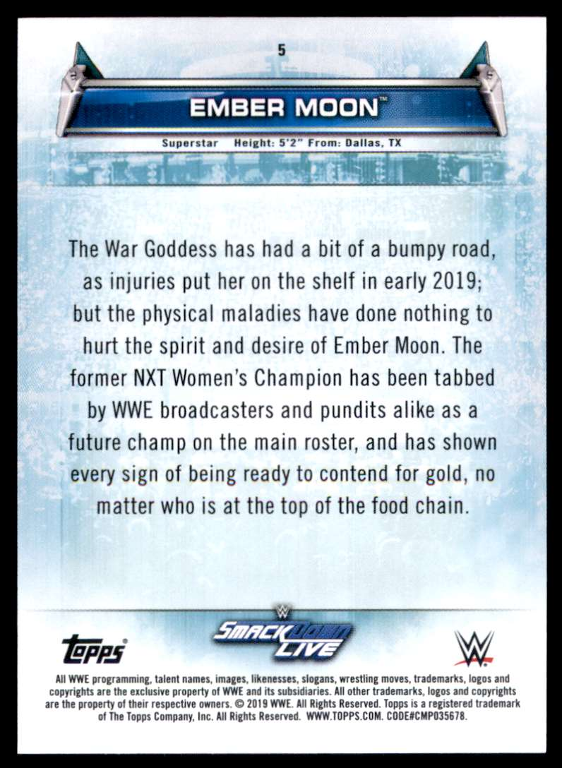 2019 Topps Wwe Women's Division Ember Moon #5 card back image