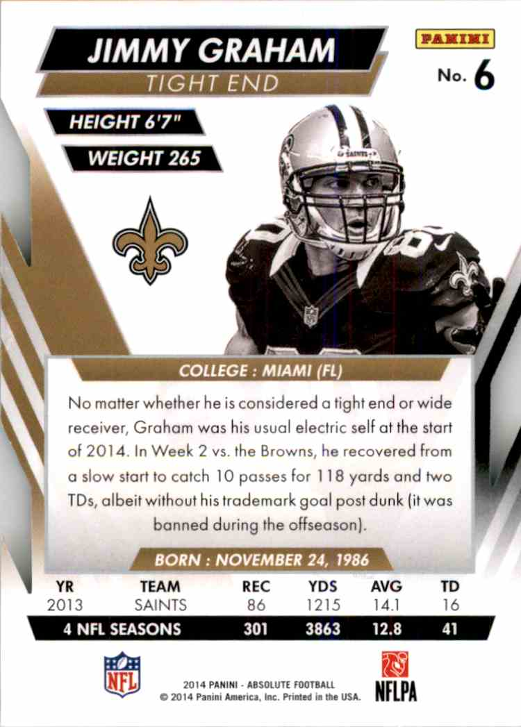 2014 Absolute Retail Jimmy Graham #6 card back image