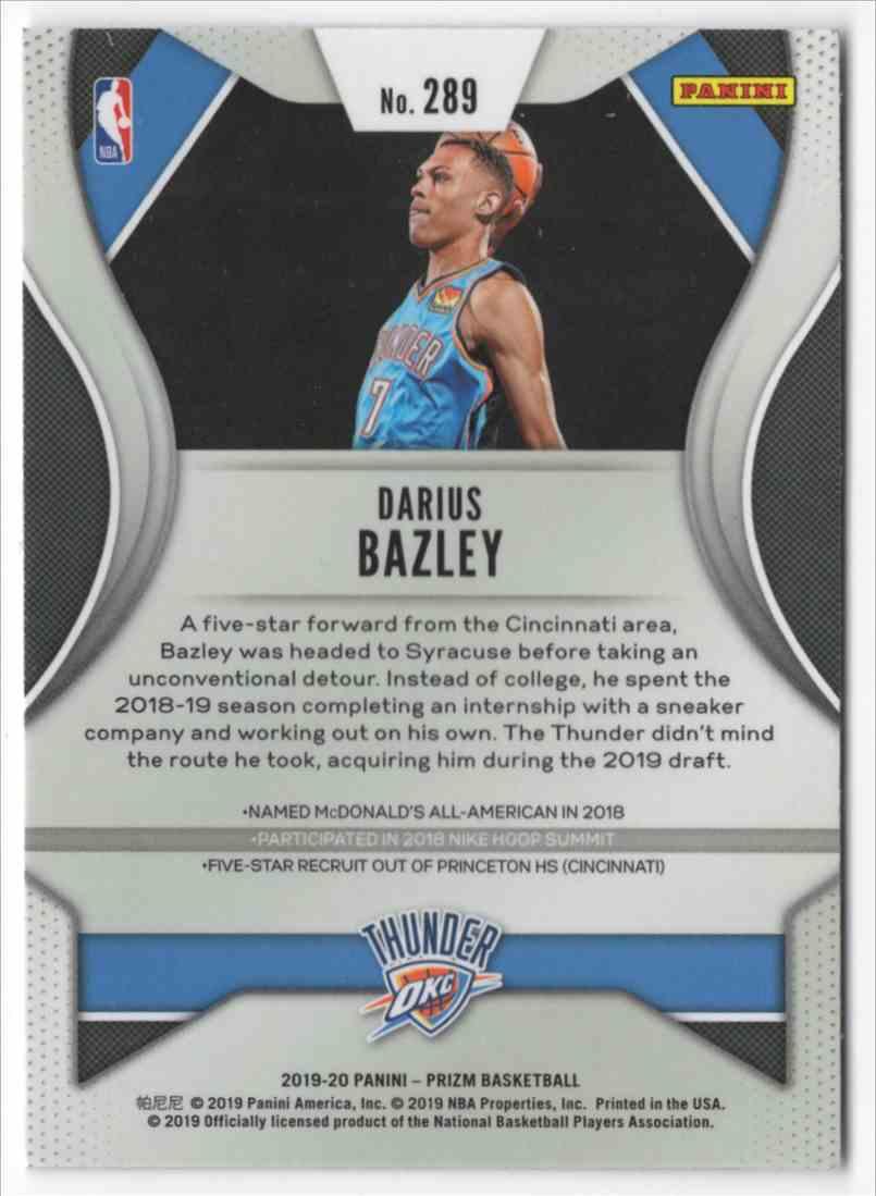 2019-20 Panini Prizm Darius Bazley #289 card back image
