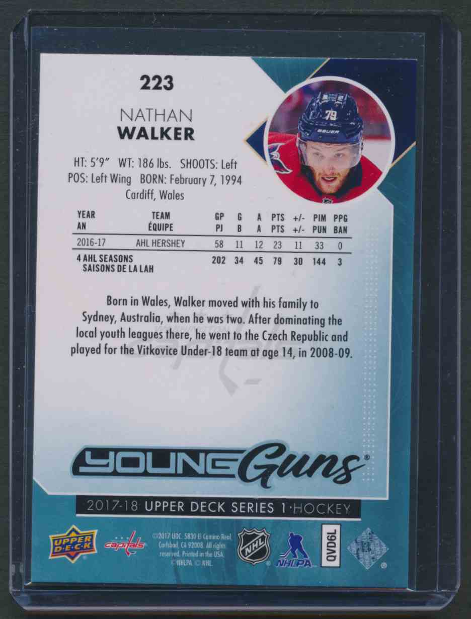 2017-18 Upper Deck Young Guns Yg Nathan Walker #223 card back image