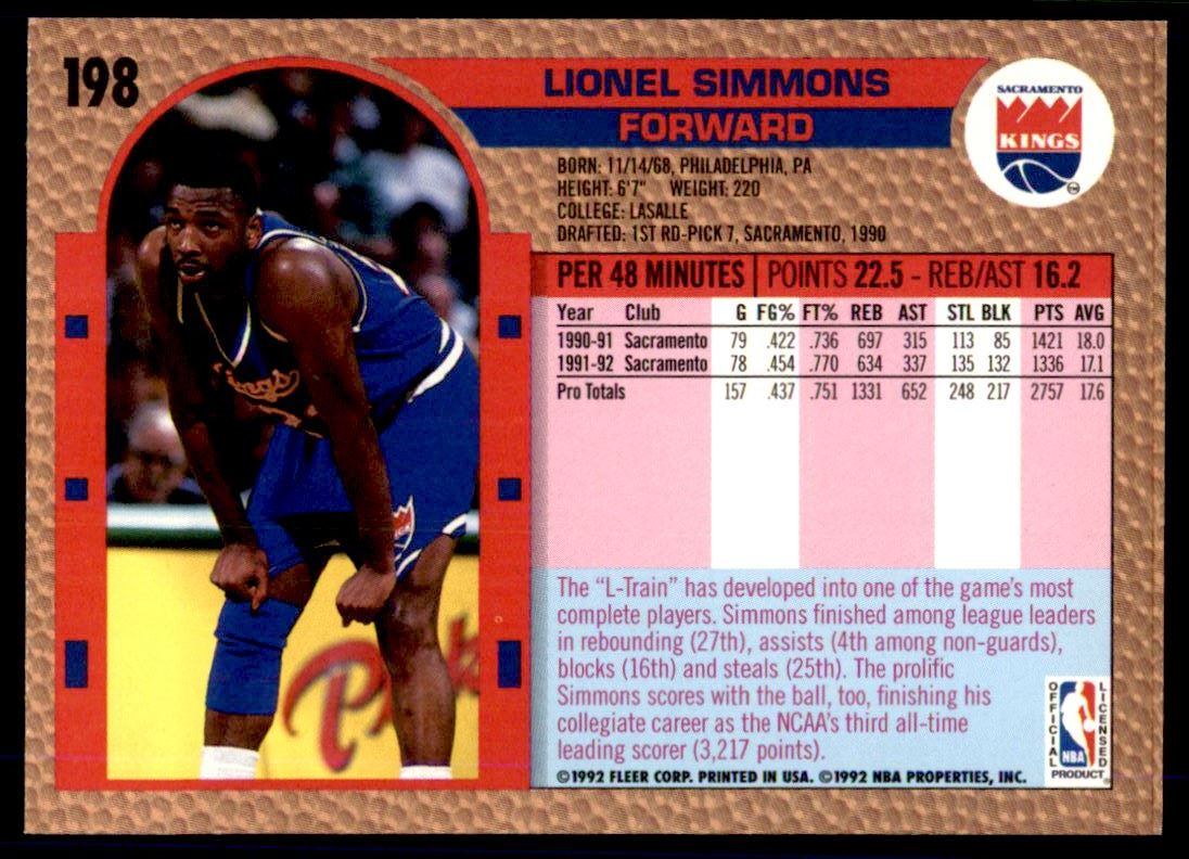 118 Lionel Simmons trading cards for sale