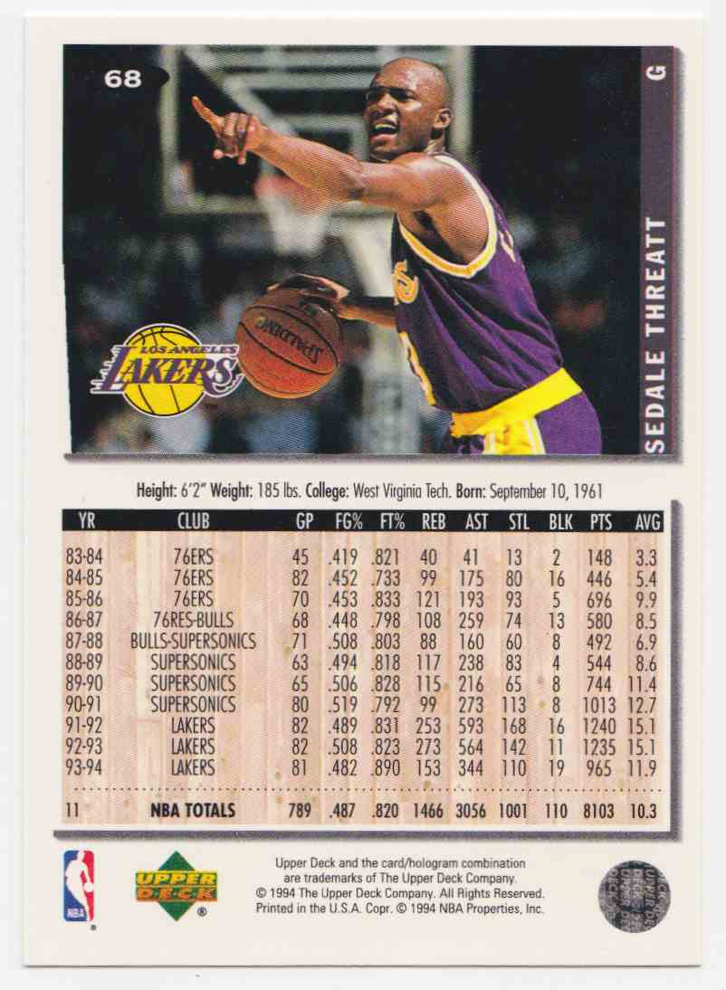 1994-95 Upper Deck Collector's Choice Base Sedale Threatt #68 card back image