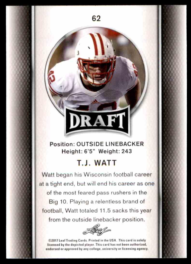 2017 Leaf Draft T.J. Watt #62 card back image