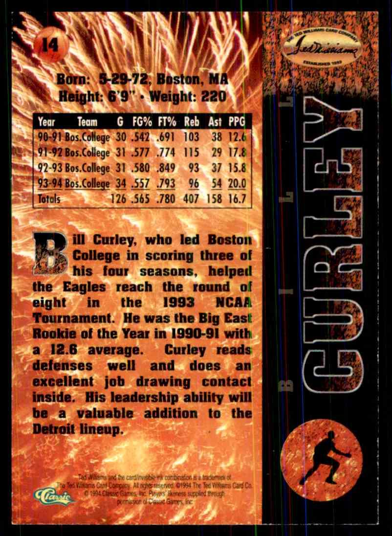 1994-95 Tedd Williams Basketball Cards Bill Curley #14 on Kronozio