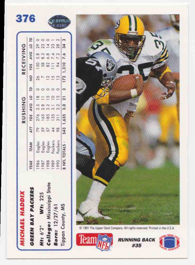 1991 Upper Deck Michael Haddix #376 card back image
