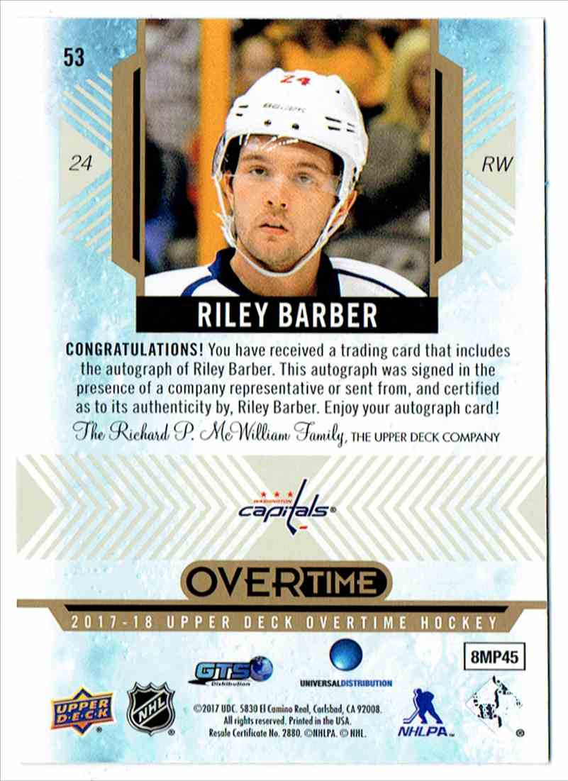 2017-18 Upper Deck Overtime Rookies Autograph Riley Barber #53 card back image