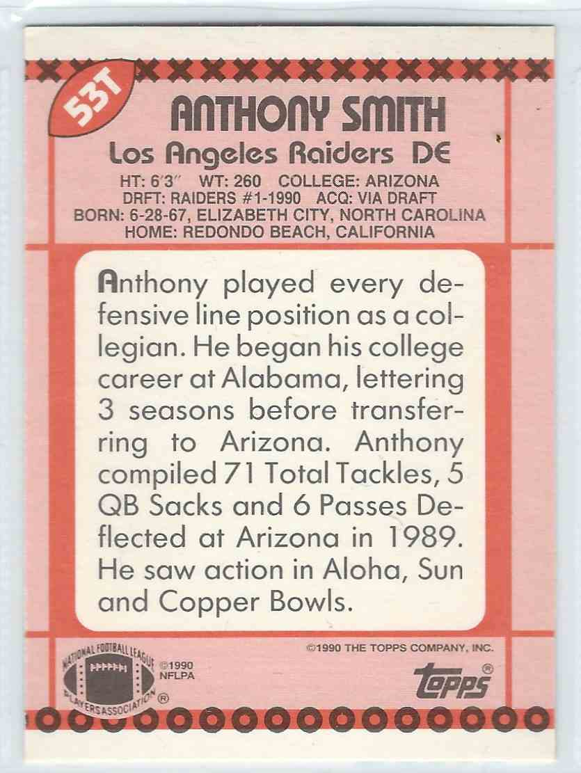 1990 Topps Traded Anthony Smith #53T card back image