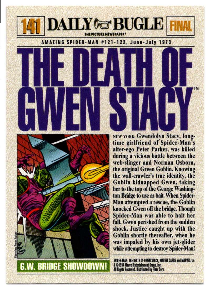 1994 Amazing Spider-Man Death Of Gwen Stacy #141 card back image