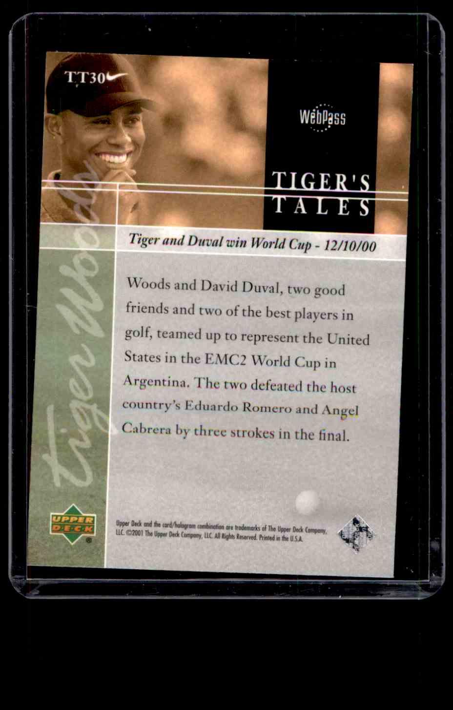 2001 Upper Deck Tiger's Tales Tiger Woods #TT30 card back image