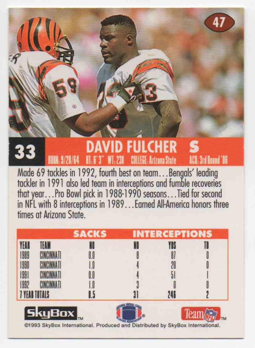 1993 Skybox Impact David Fulcher #47 card back image