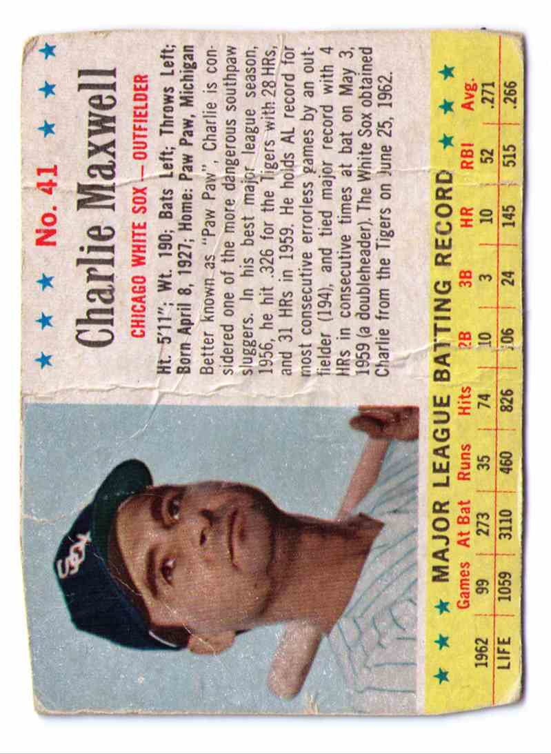 1963 Post Cereal Jello Charlie Maxwell #41 card front image