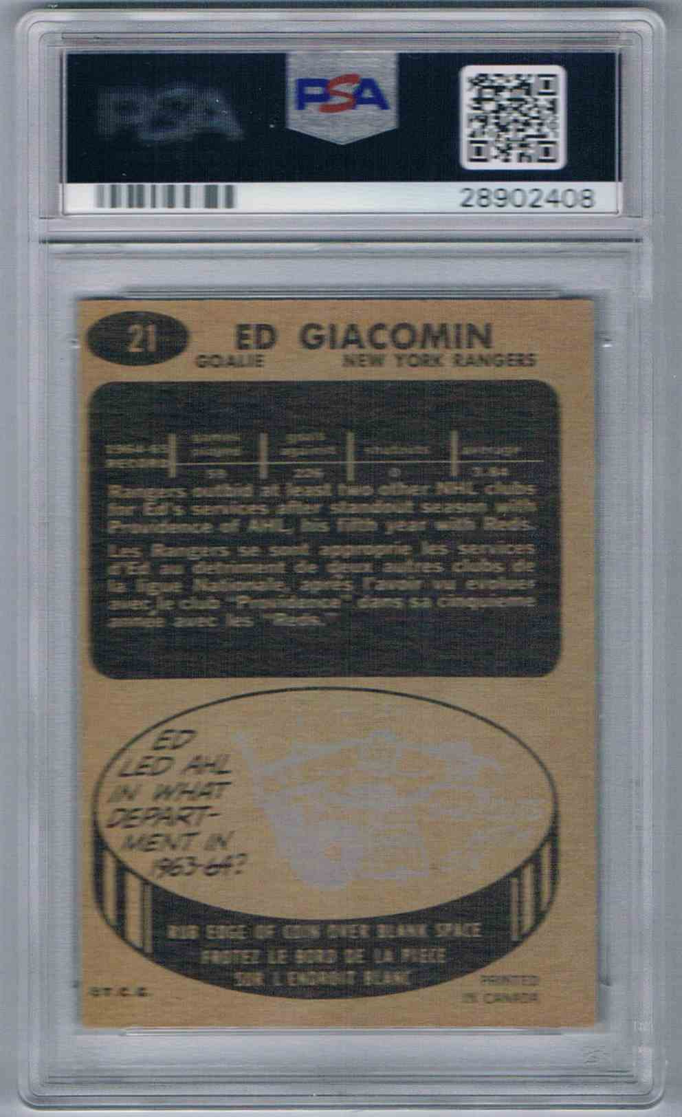 1965-66 Topps Bad Grade More Like 6 Ed Giacomin #21 card back image