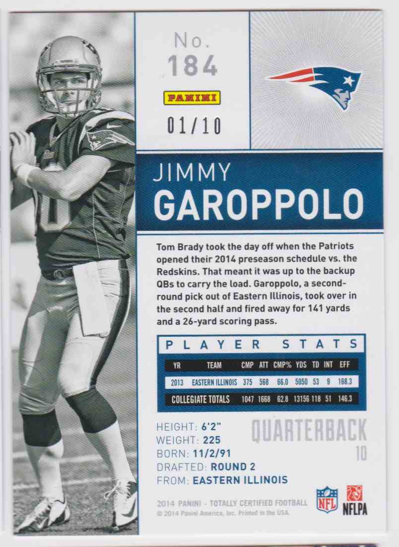 2014 Totally Certified Platinum Blue Jimmy Garoppolo #184 card back image
